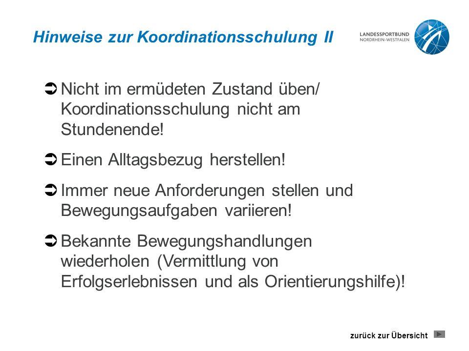 Hinweise zur Koordinationsschulung II
