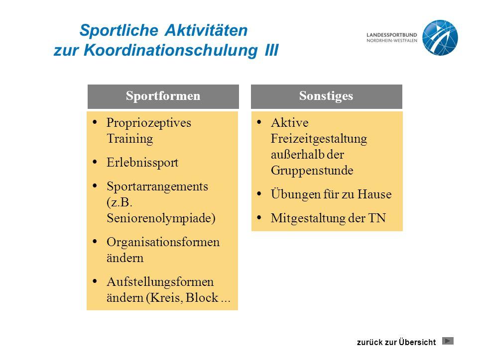 Sportliche Aktivitäten zur Koordinationschulung III