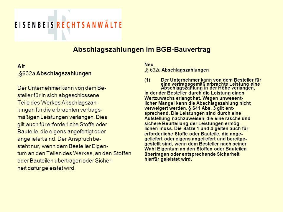 Abschlagszahlungen im BGB-Bauvertrag