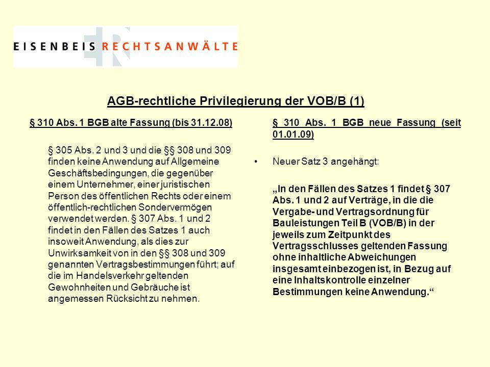 AGB-rechtliche Privilegierung der VOB/B (1)