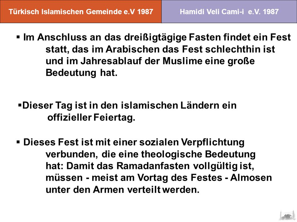 Türkisch Islamischen Gemeinde e.V 1987