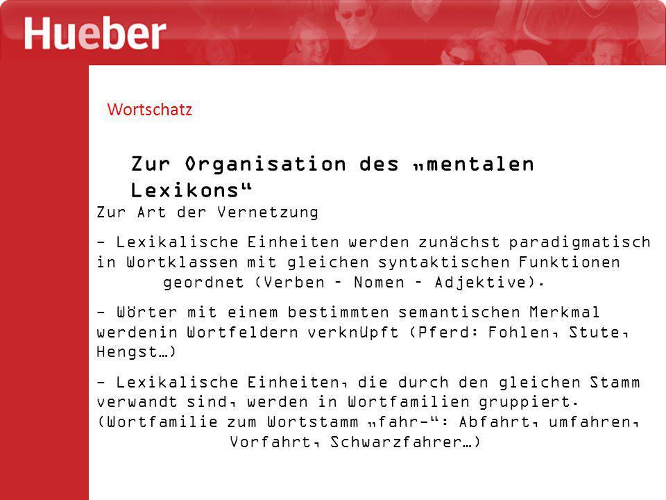 """Zur Organisation des """"mentalen Lexikons"""