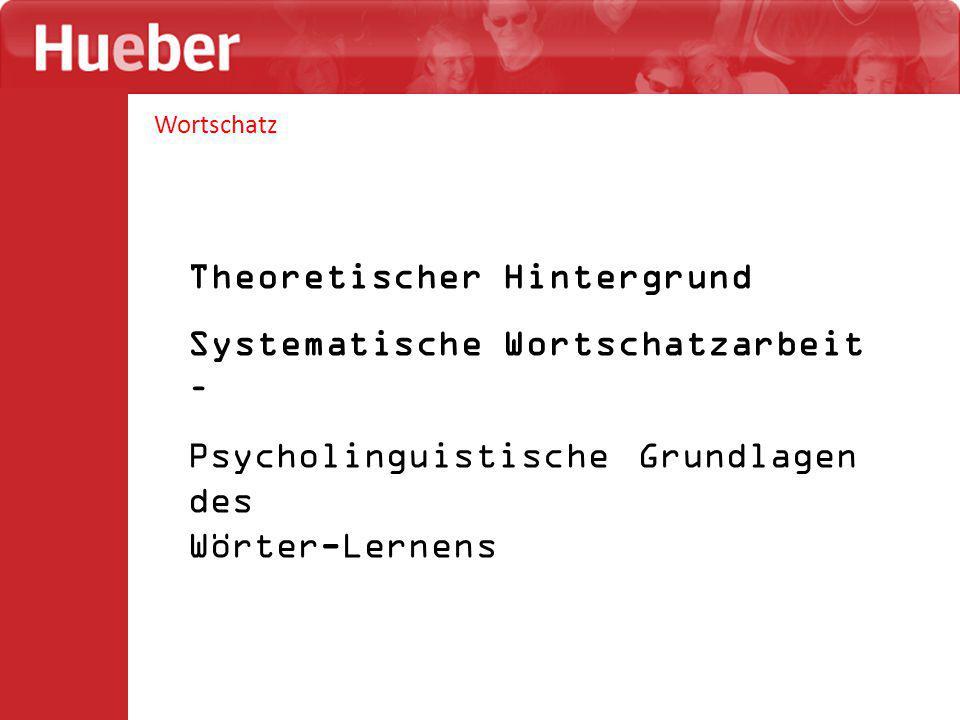 Theoretischer Hintergrund Systematische Wortschatzarbeit –
