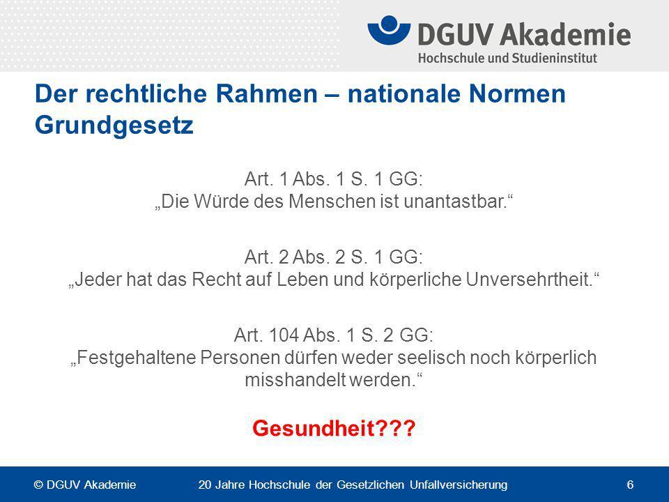 Der rechtliche Rahmen – nationale Normen Grundgesetz