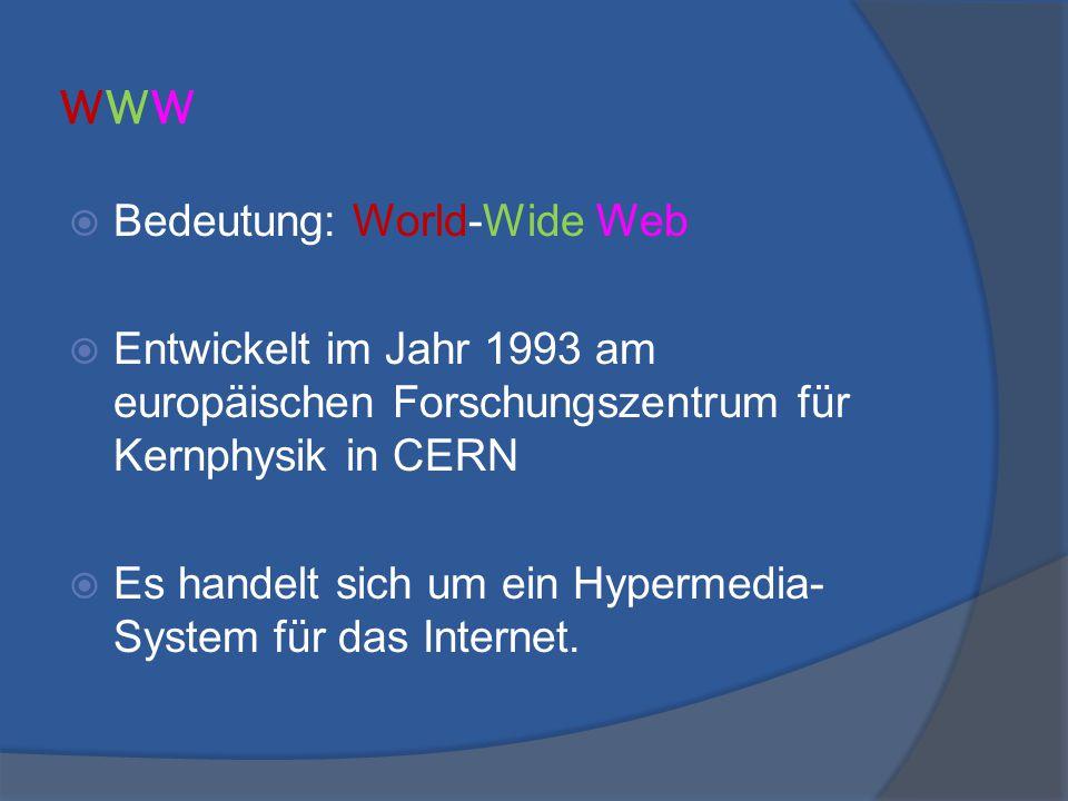 www Bedeutung: World-Wide Web
