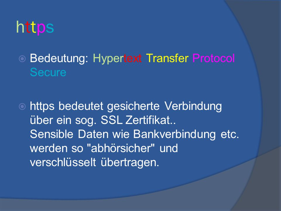 https Bedeutung: Hypertext Transfer Protocol Secure