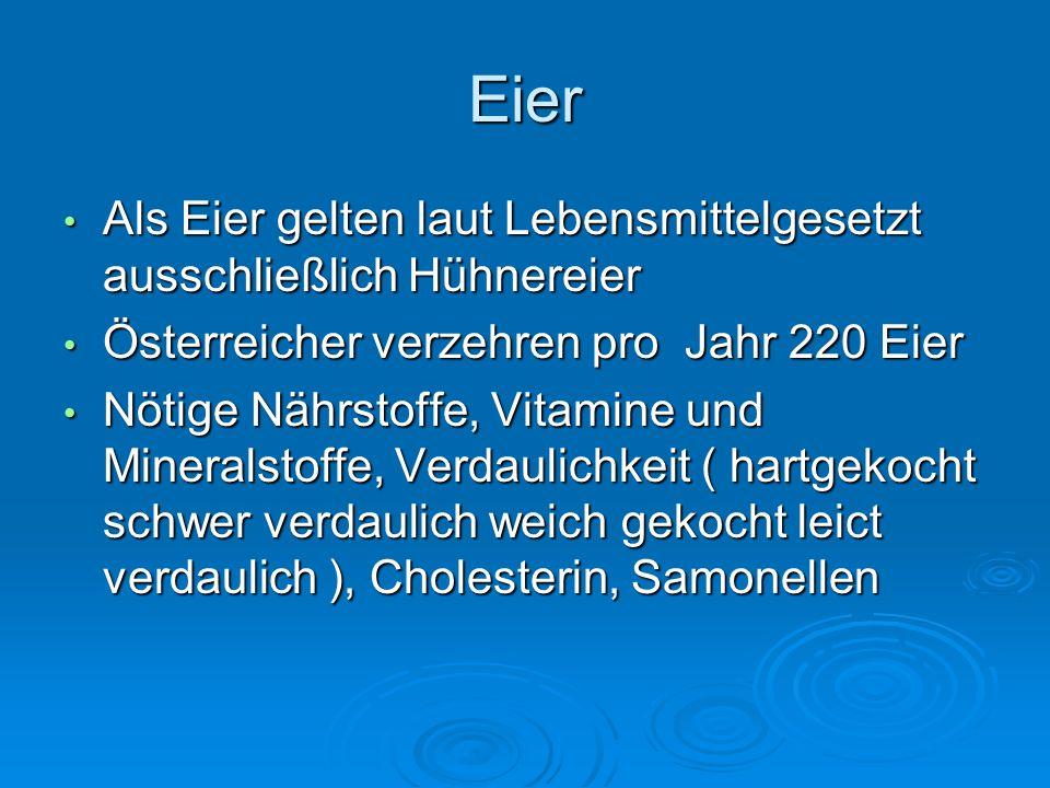 Eier Als Eier gelten laut Lebensmittelgesetzt ausschließlich Hühnereier. Österreicher verzehren pro Jahr 220 Eier.