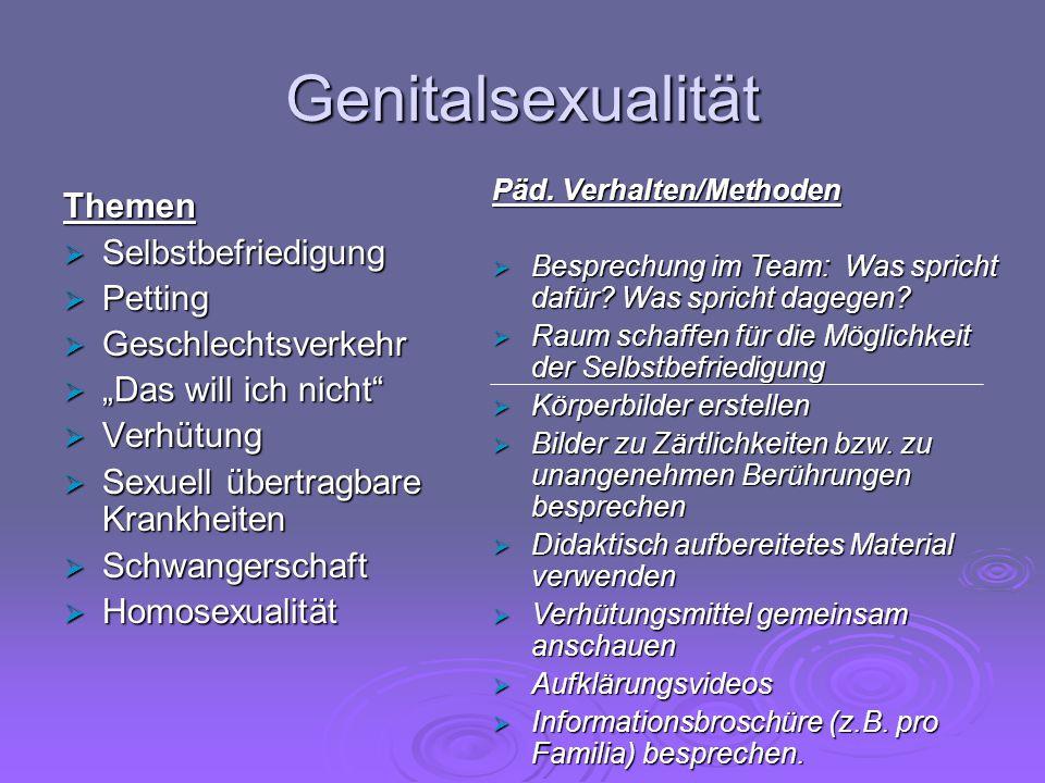 Genitalsexualität Themen Selbstbefriedigung Petting Geschlechtsverkehr