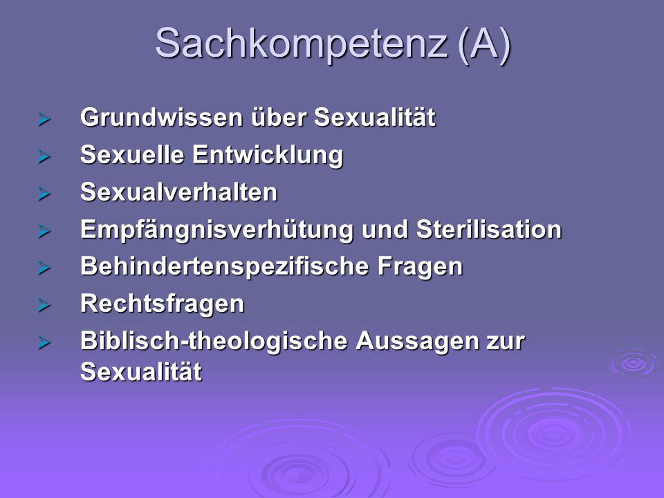 Sachkompetenz (A) Grundwissen über Sexualität Sexuelle Entwicklung