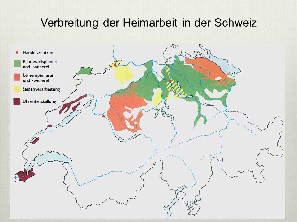 Verbreitung der Heimarbeit in der Schweiz