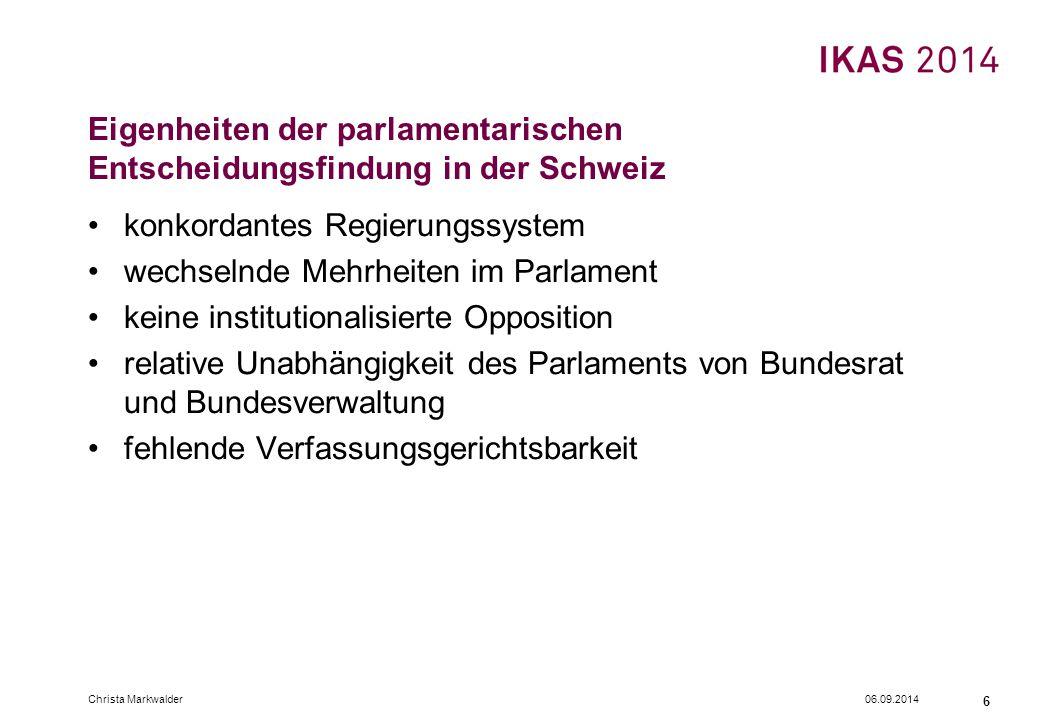 Eigenheiten der parlamentarischen Entscheidungsfindung in der Schweiz