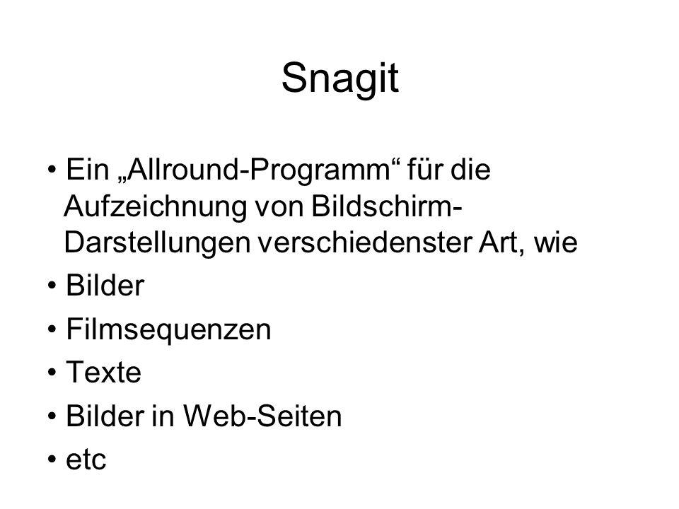 """Snagit Ein """"Allround-Programm für die Aufzeichnung von Bildschirm- Darstellungen verschiedenster Art, wie."""