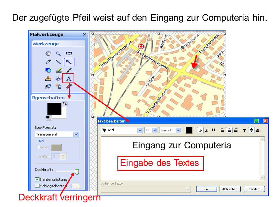 Der zugefügte Pfeil weist auf den Eingang zur Computeria hin.