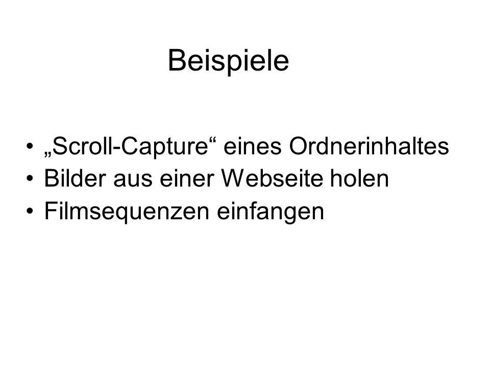 """Beispiele """"Scroll-Capture eines Ordnerinhaltes"""