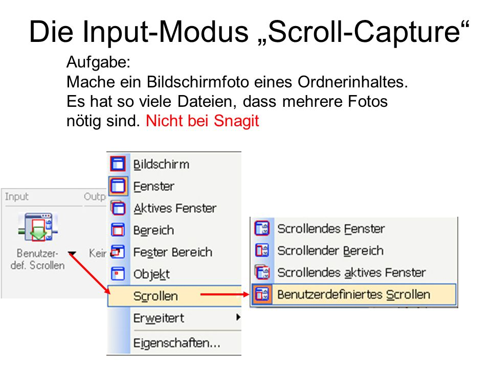 "Die Input-Modus ""Scroll-Capture"