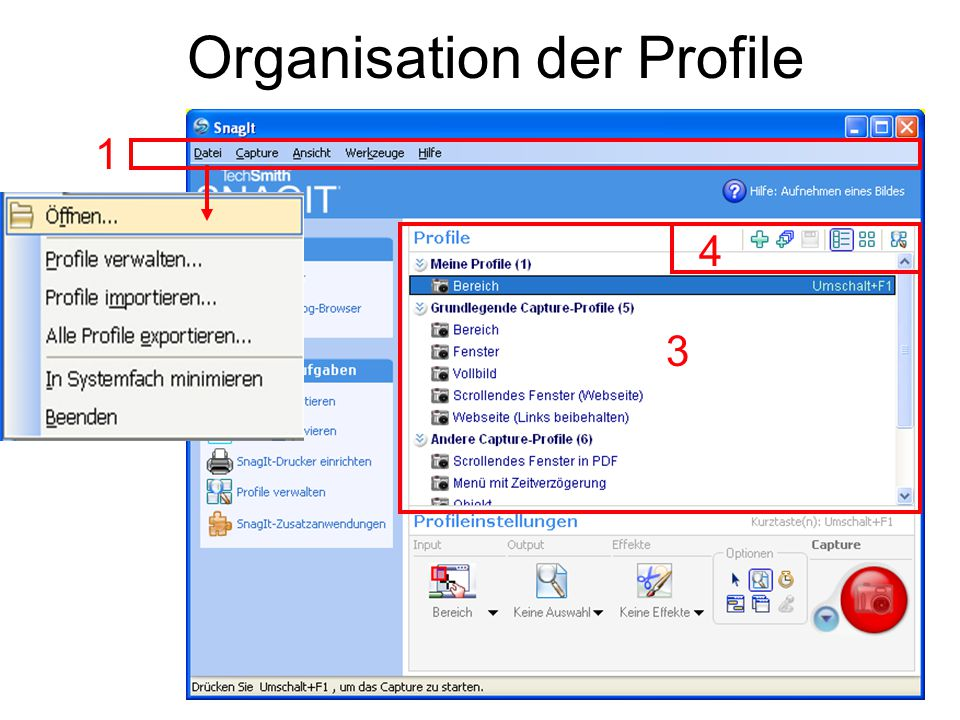 Organisation der Profile