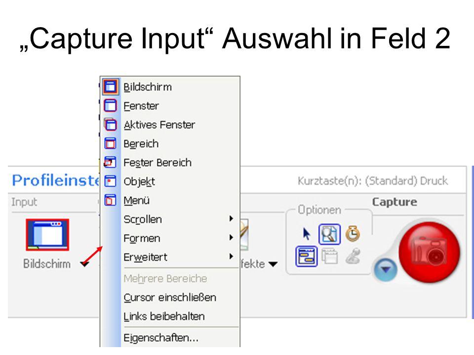 """""""Capture Input Auswahl in Feld 2"""