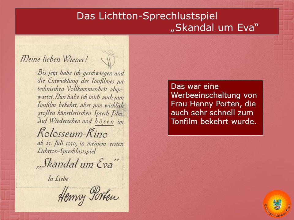 """Das Lichtton-Sprechlustspiel """"Skandal um Eva"""