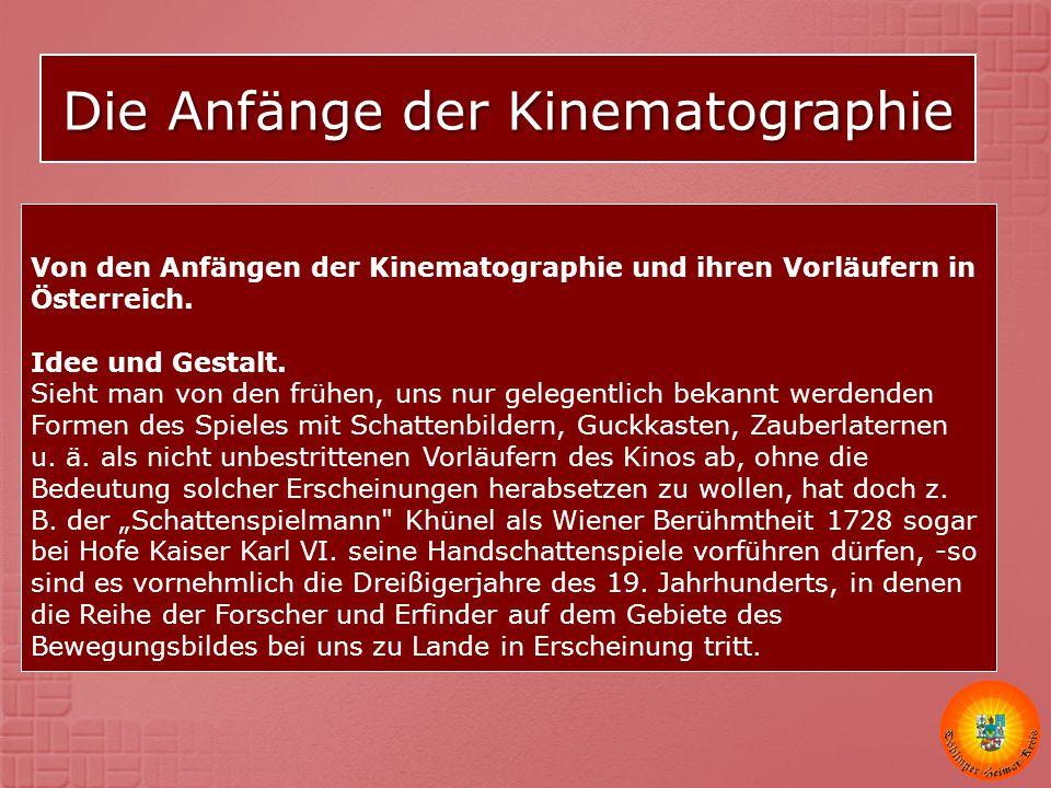 Die Anfänge der Kinematographie