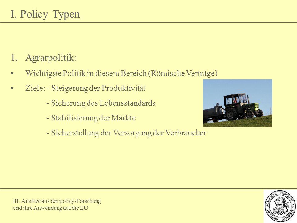 I. Policy Typen Agrarpolitik: