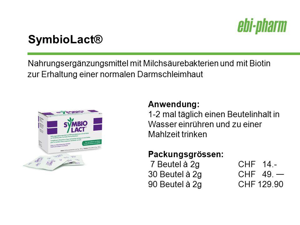 SymbioLact® Nahrungsergänzungsmittel mit Milchsäurebakterien und mit Biotin zur Erhaltung einer normalen Darmschleimhaut.