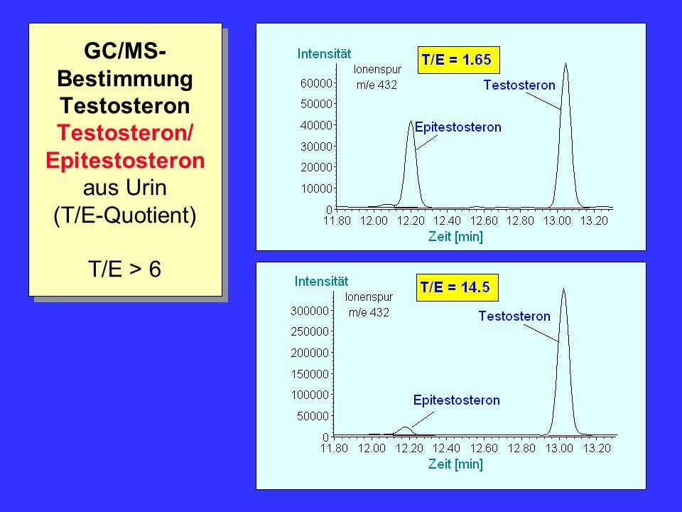GC/MS-Bestimmung Testosteron Testosteron/ Epitestosteron aus Urin (T/E-Quotient) T/E > 6