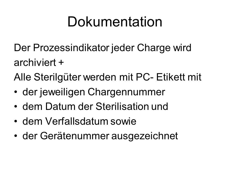 Dokumentation Der Prozessindikator jeder Charge wird archiviert +