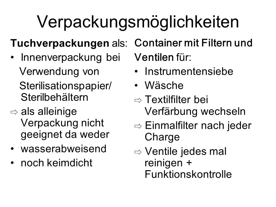 Verpackungsmöglichkeiten