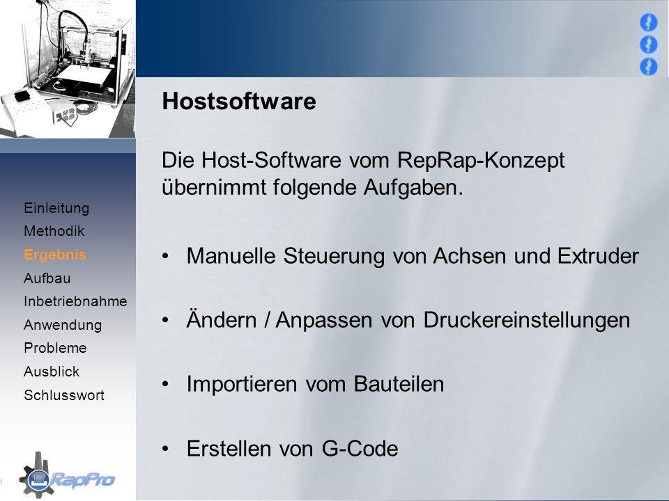 Hostsoftware Die Host-Software vom RepRap-Konzept übernimmt folgende Aufgaben. Einleitung. Methodik.