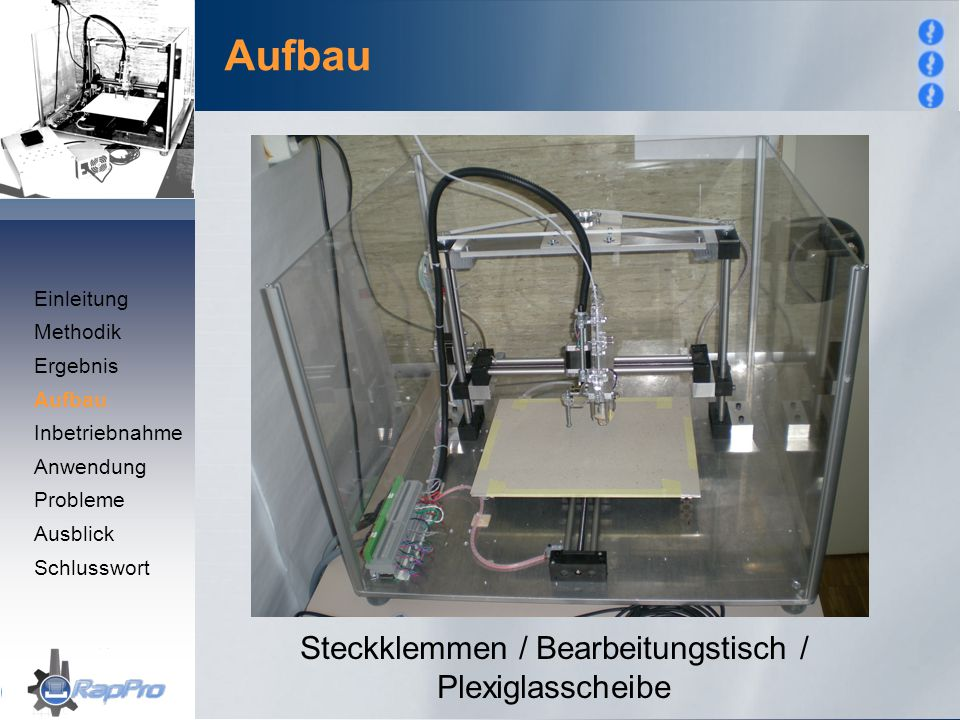 Steckklemmen / Bearbeitungstisch / Plexiglasscheibe