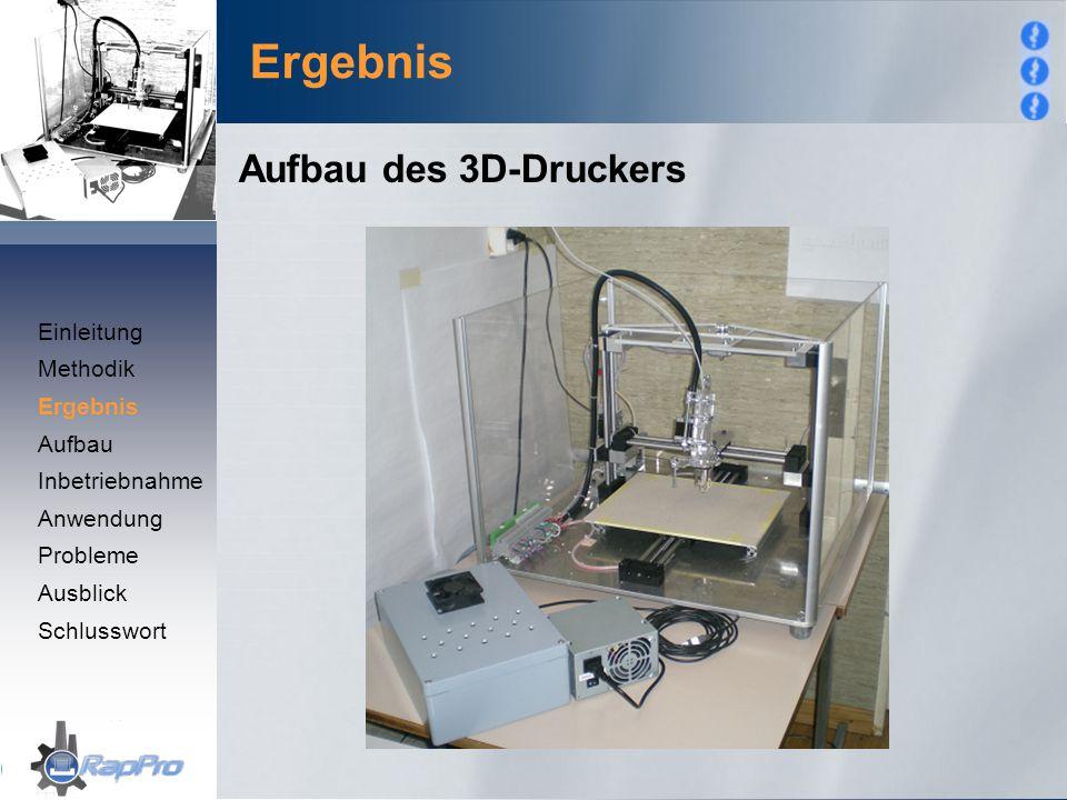 Ergebnis Aufbau des 3D-Druckers Einleitung Methodik Ergebnis Aufbau