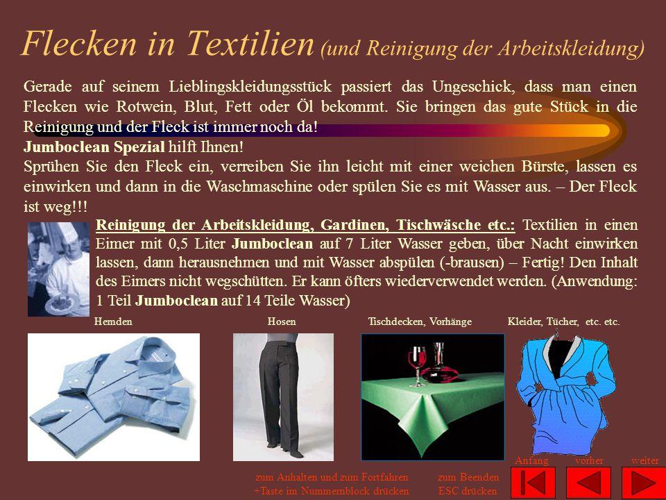 Flecken in Textilien (und Reinigung der Arbeitskleidung)
