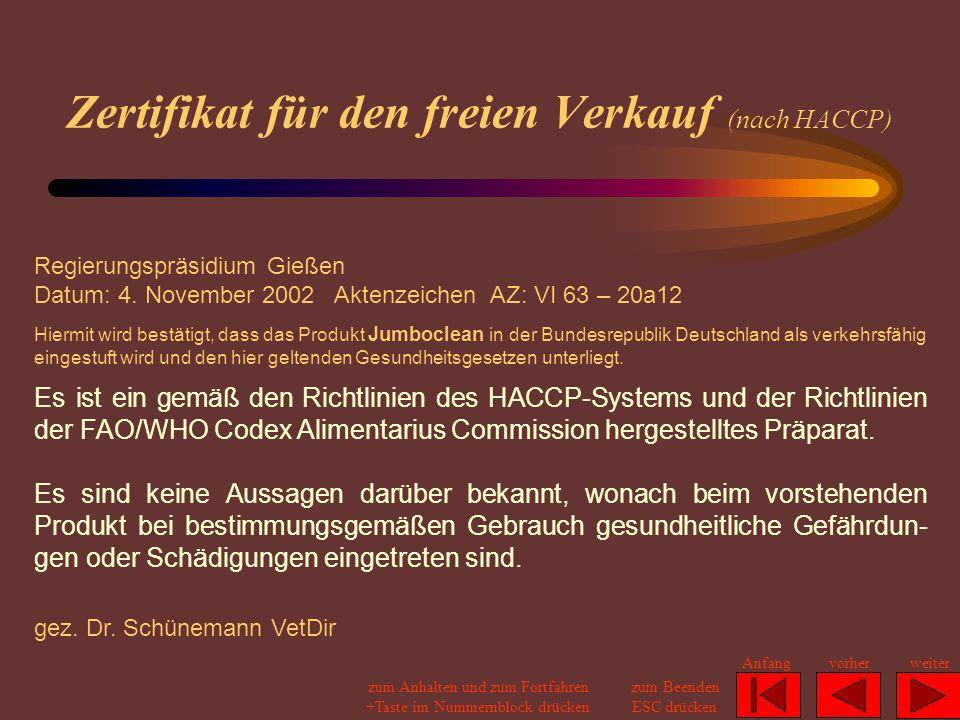 Zertifikat für den freien Verkauf (nach HACCP)