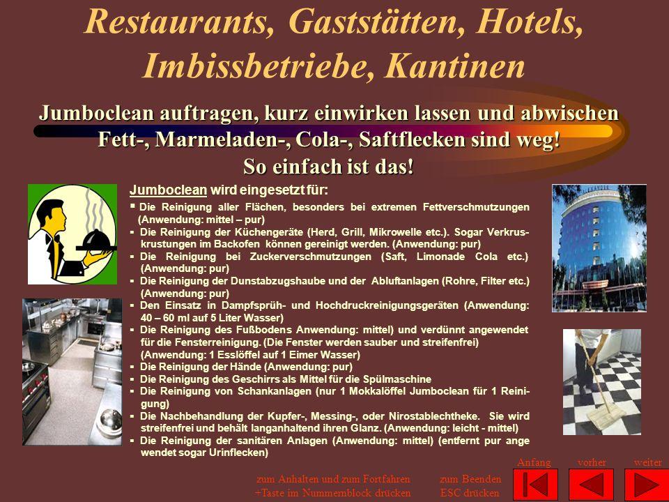 Restaurants, Gaststätten, Hotels, Imbissbetriebe, Kantinen