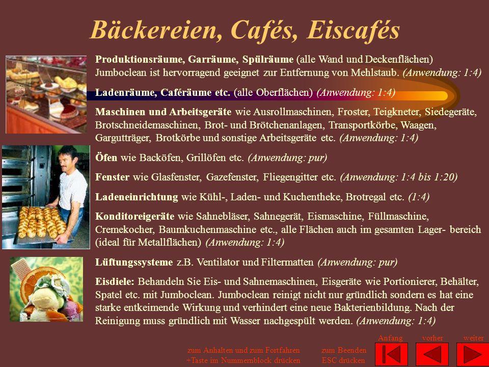 Bäckereien, Cafés, Eiscafés