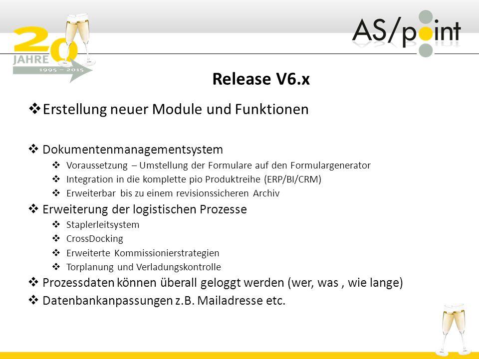 Release V6.x Erstellung neuer Module und Funktionen