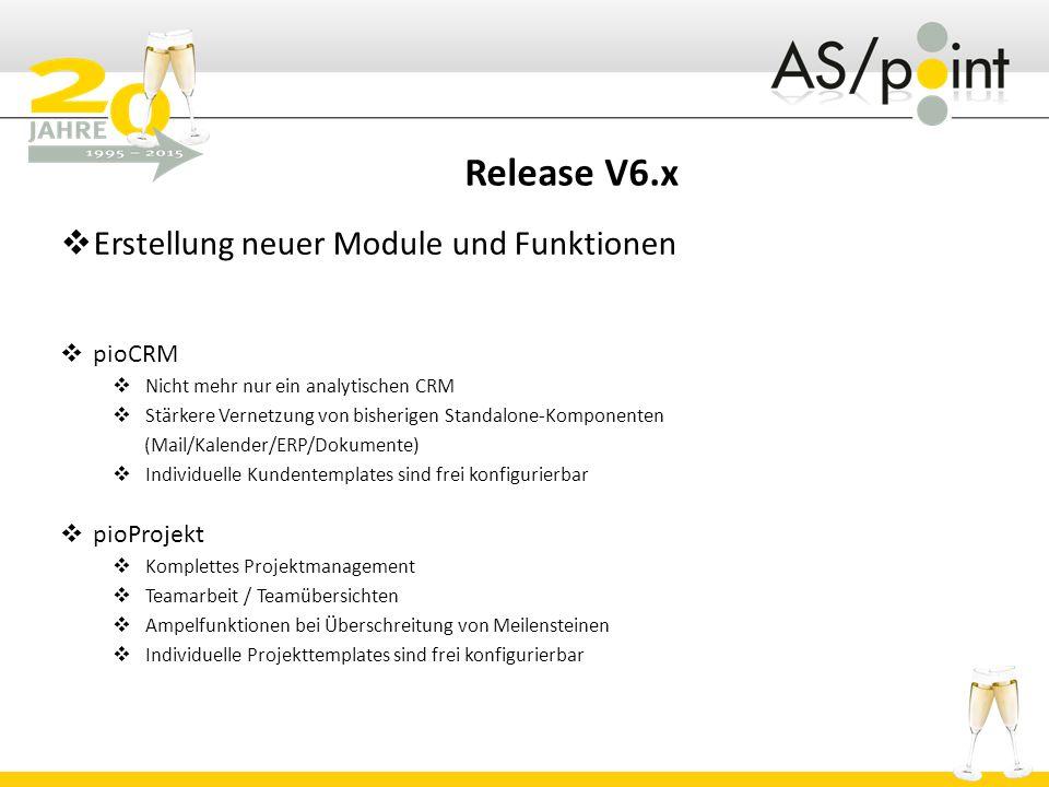 Release V6.x Erstellung neuer Module und Funktionen pioCRM pioProjekt