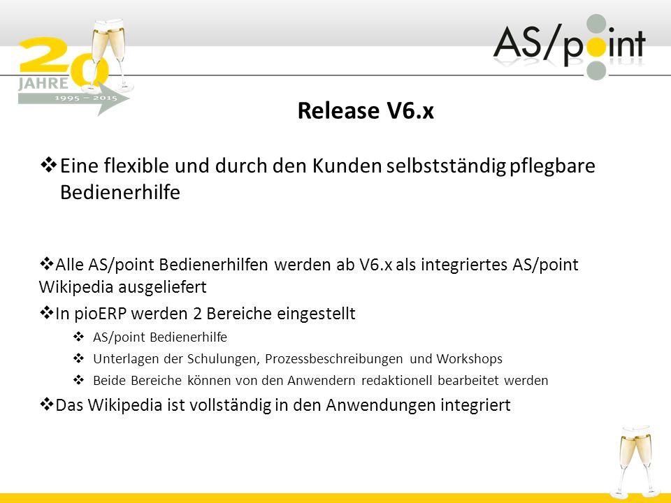 Release V6.x Eine flexible und durch den Kunden selbstständig pflegbare Bedienerhilfe.
