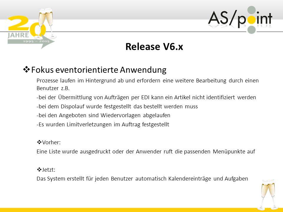 Release V6.x Fokus eventorientierte Anwendung