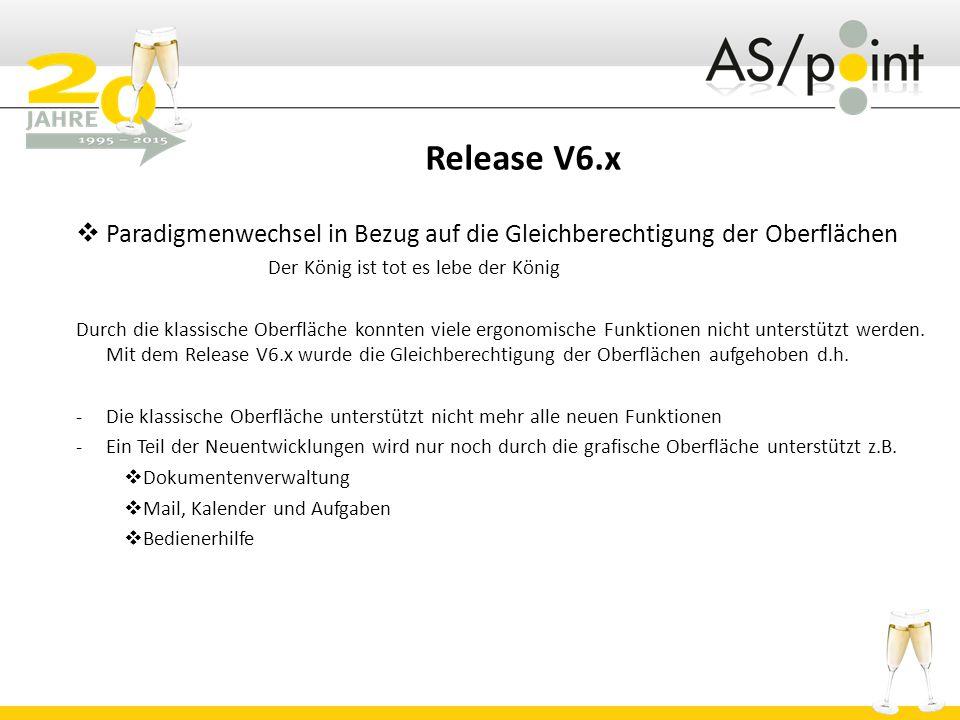Release V6.x Paradigmenwechsel in Bezug auf die Gleichberechtigung der Oberflächen. Der König ist tot es lebe der König.
