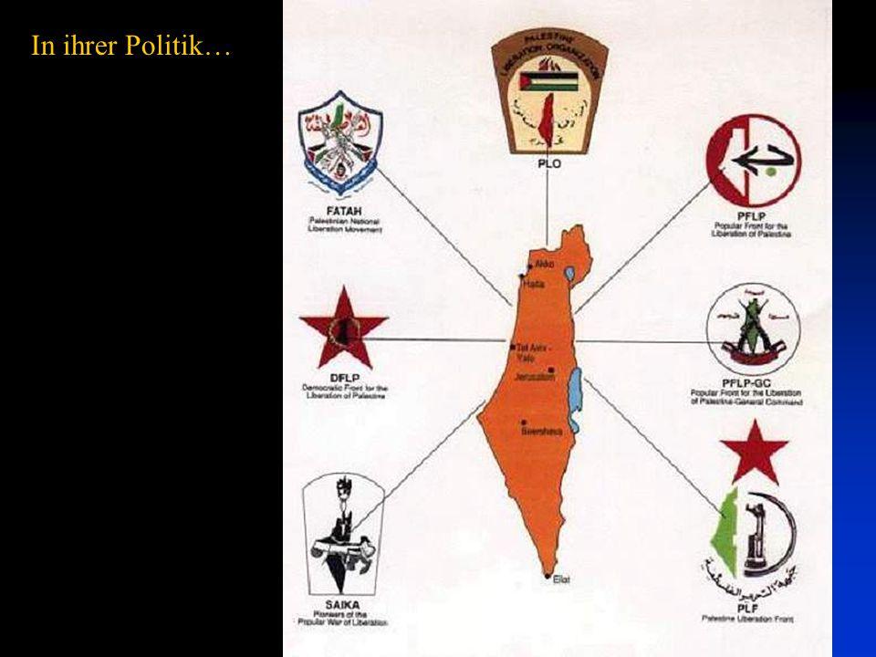 In ihrer Politik… Palästinensische politische und militärische Vereinigungen - alle zeigen das gesamte Israel in ihren Symbolen.