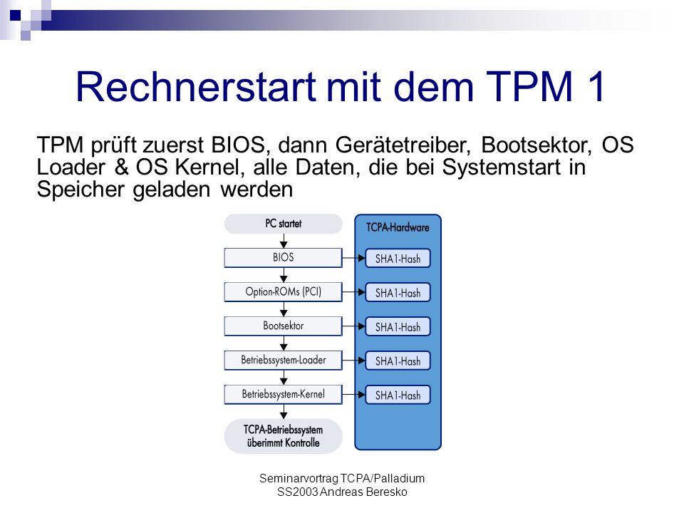 Rechnerstart mit dem TPM 1