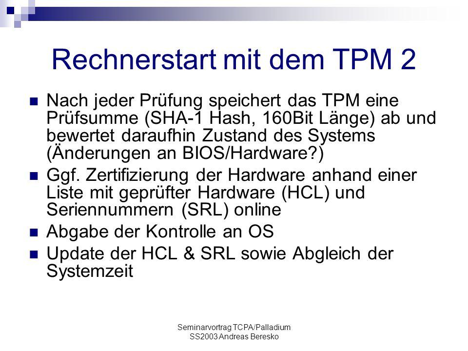Rechnerstart mit dem TPM 2