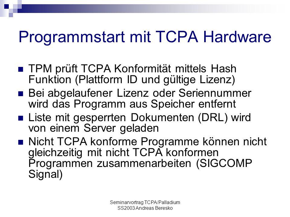 Programmstart mit TCPA Hardware