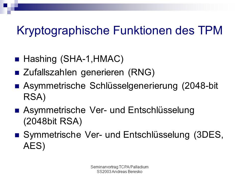 Kryptographische Funktionen des TPM