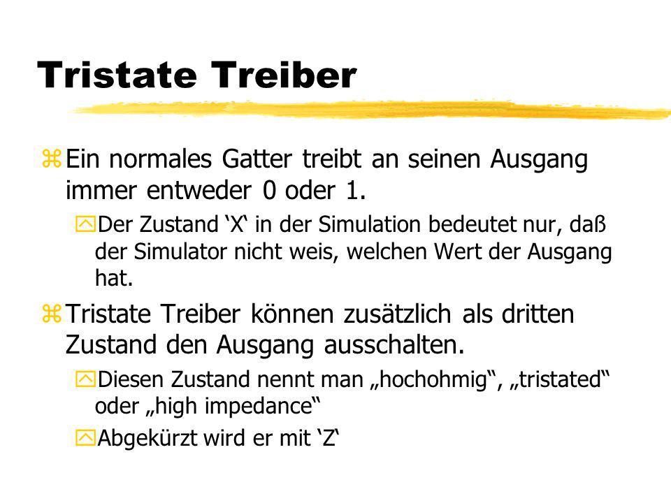 Tristate Treiber Ein normales Gatter treibt an seinen Ausgang immer entweder 0 oder 1.