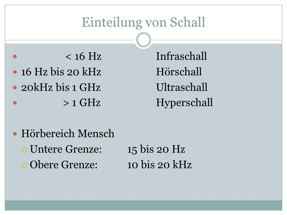 Einteilung von Schall < 16 Hz Infraschall