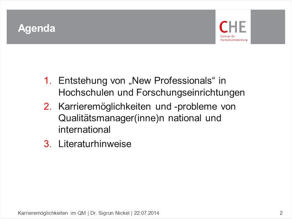 """Agenda Entstehung von """"New Professionals in Hochschulen und Forschungseinrichtungen."""