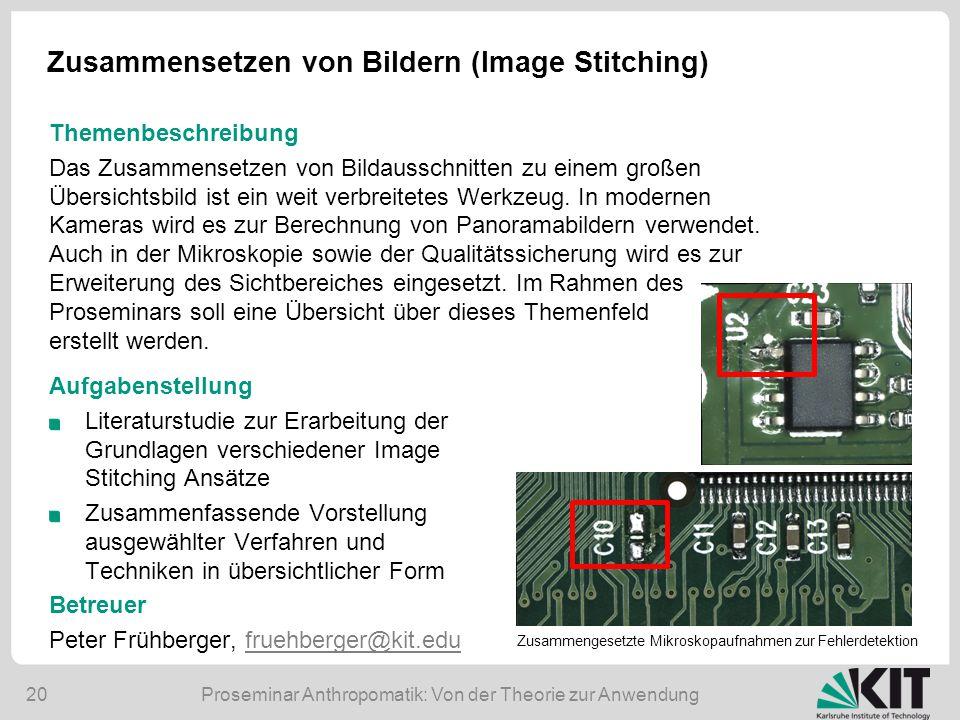 Zusammensetzen von Bildern (Image Stitching)