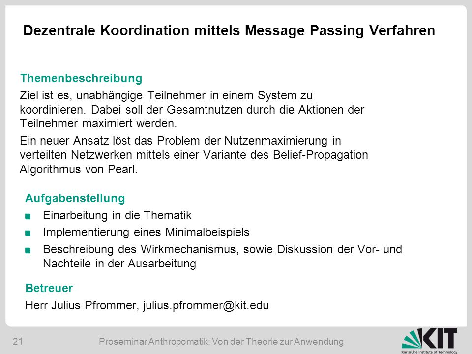 Dezentrale Koordination mittels Message Passing Verfahren